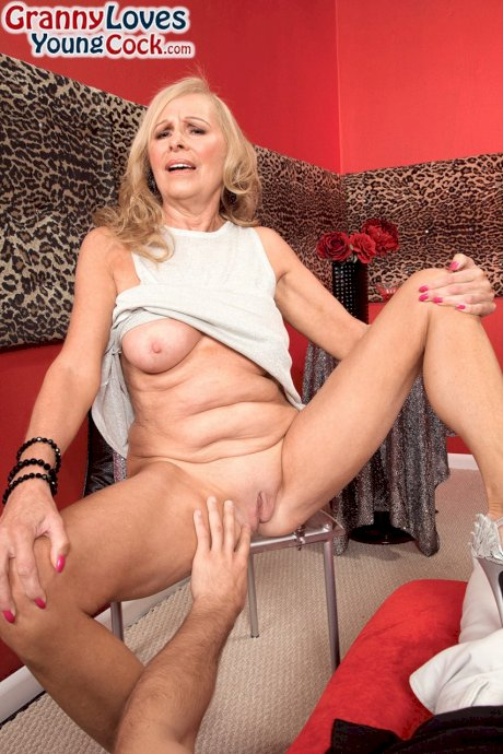 Older lady Bethany James sucks the sperm from a cock like a champion