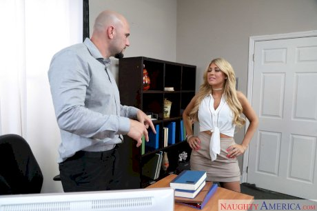 Blonde secretary Kayla Kayden gets nailed by a horny bald boss at work