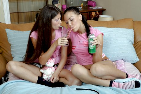 Lesbian teens Alana B & Zanna licking and toying each others' pink hole