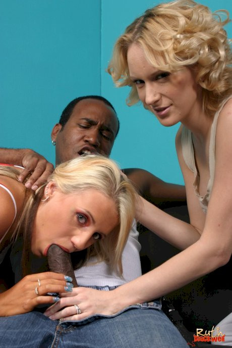 White chicks Ruth Blackwell and Jacky Joy double team a big black dick