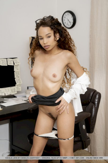 Sexy secretary Cecilia Lion puts her glasses on head before disrobing at work