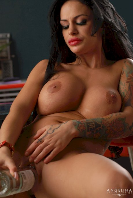 Sultry Latina Angelina Valentine reveals her fakes & masturbates with a bottle