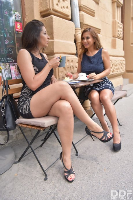 Lesbians Dorothy & Zafira meet for coffee with ass lick & strap-on to follow
