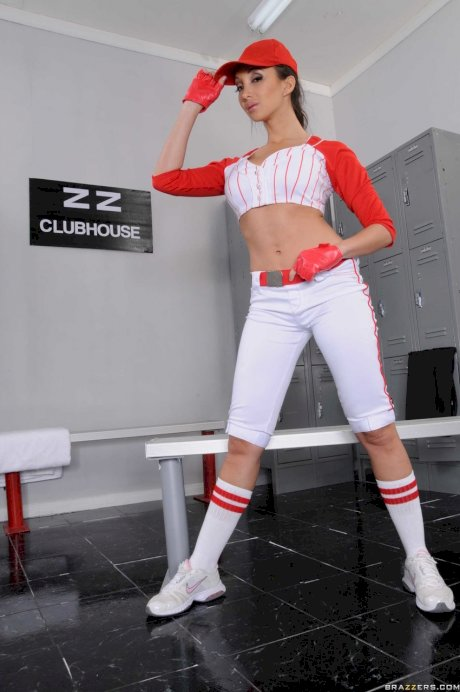 Asian chick Katsuni rips open her baseball uniform in the clubhouse