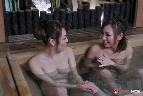 Asian sweetie Akari Asayiri & her girlfriend enjoy scissoring after a hot bath
