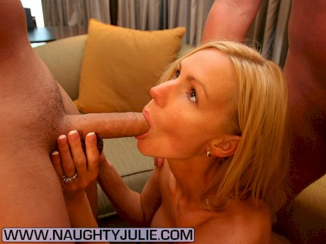 Big titted blonde Naughty Julie takes a couple of open mouth cumshots