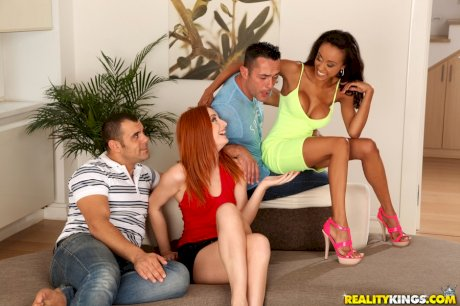Flaming redhead and her black gf hookup with 2 guys for wild MMFF fucking