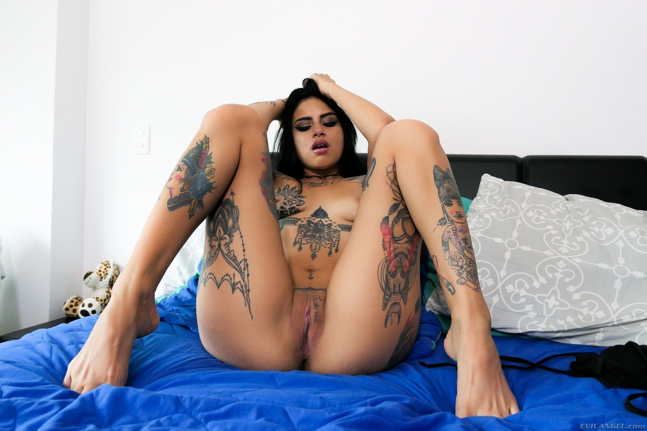 Nude Latina Canela Skin Shows Her Sternum Tattoo