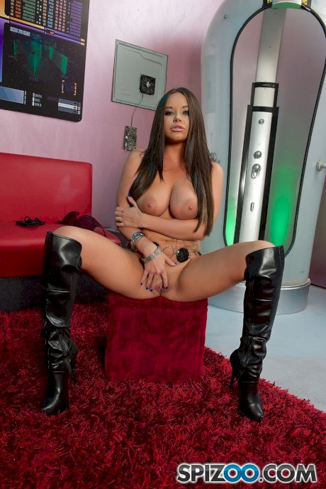 Sexy brunette Rachele Richey with big nipples bared riding hard in boots