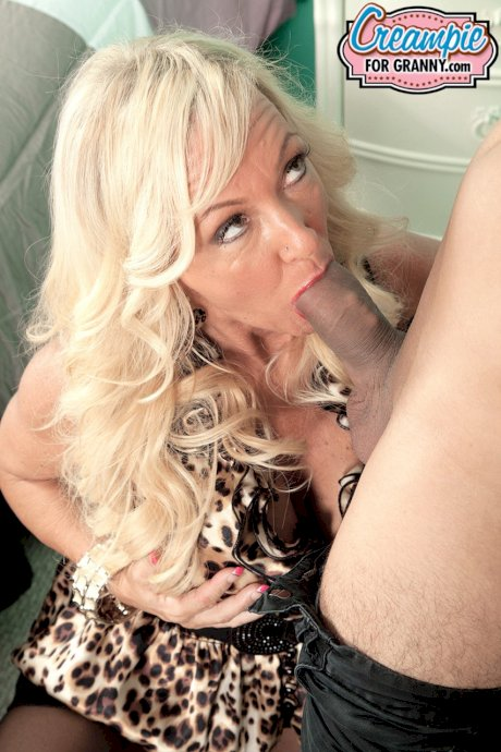Blonde granny Barbi Banks sucks on a young cock & gets a warm pussy creampie