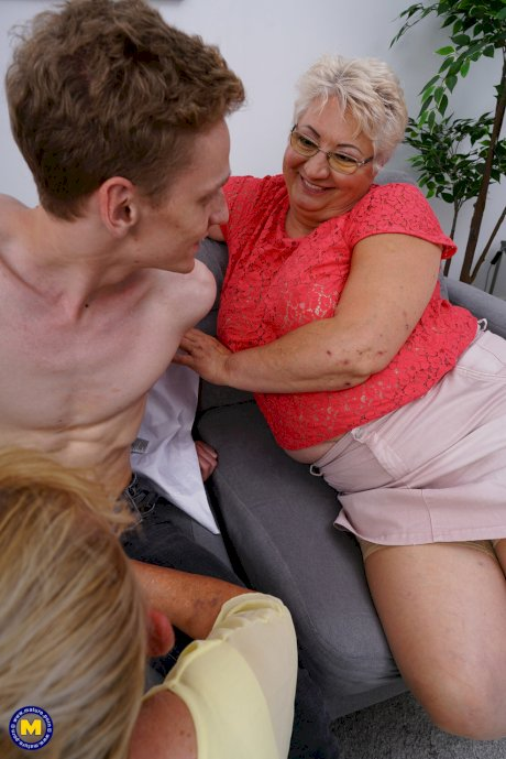 Horny grannies Babet, Ilya & Marina T. have a hot 3some with a slender toy boy
