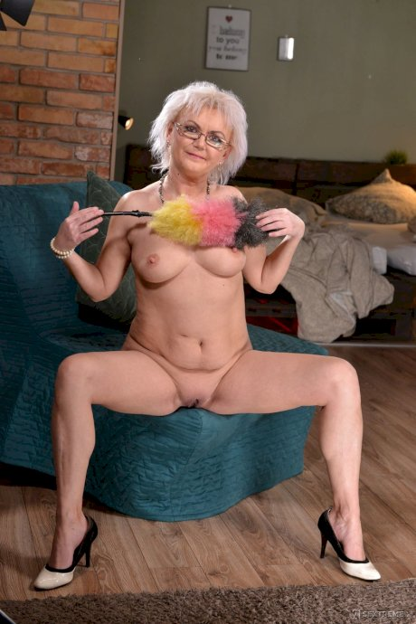 Sexy granny Elvira sucks a young man's cock & gets plowed hardcore