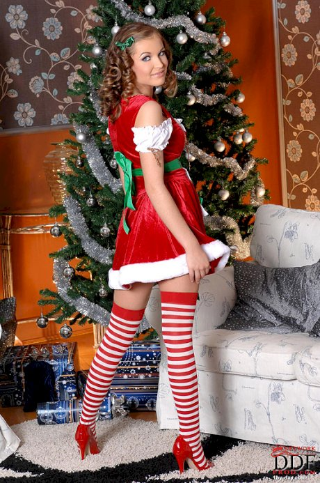 Cute solo girl Lesperansa strutting topless in cosplay Christmas outfit