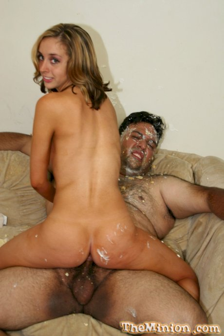 Blonde first timer Kelly Wells and fat man have messy sex on a sofa