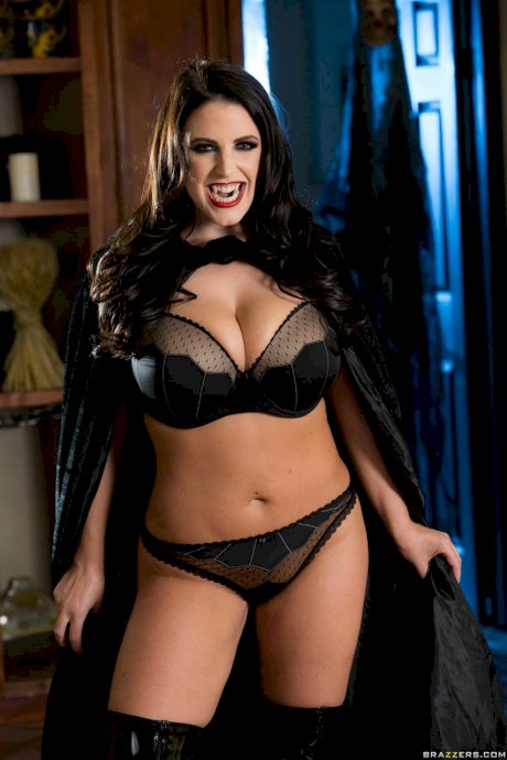 Sexy big boobed vampire Angela White arrives at the Halloween party