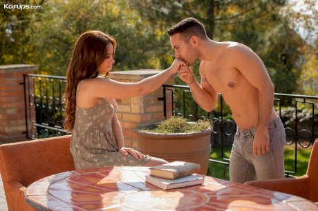 Sweet redhead Ginebra Belluci seduces her gardener for sex on the patio