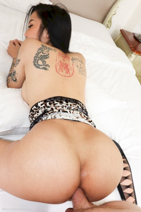 Hot tattooed shemale Alice 1 sucks a long cock before getting her ass fucked