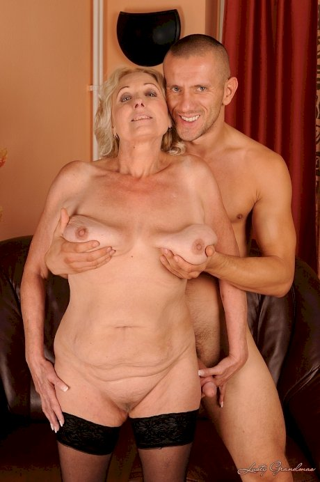 Blonde granny relishes some old young banging with a thick cock