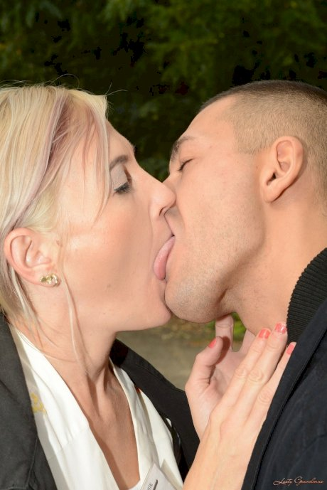 Nasty mature blonde Kimberley gives head and gets fucked hard before facial