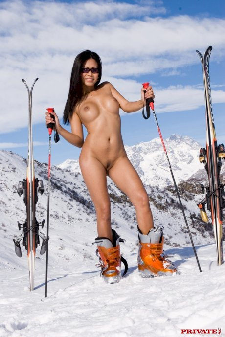 Petite pornstars Judith Fox and Priva get rammed in a foursome in the snow