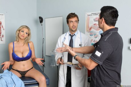 Busty blonde with huge fakes Katie Kox gets nailed by a kinky doctor