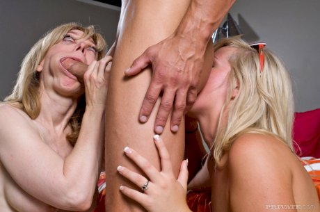 Older and young lesbians try sharing a cock and a cum swap for change of pace