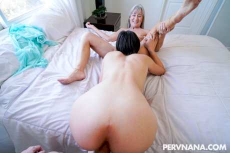 Sexy babes Angeline Red and skinny mature Leilani Lei share a dick in POV