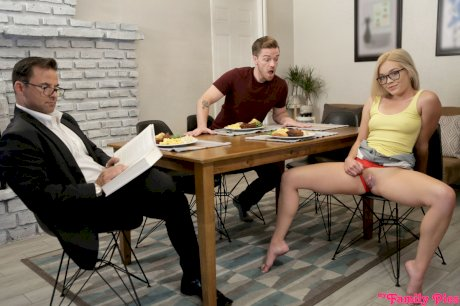 Nerdy blonde Katie Kush participates in taboo sex with her stepbrother