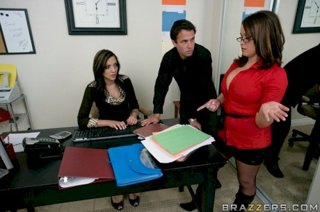 Office babe with giant tits sexually dominates and fucks her handsome employee