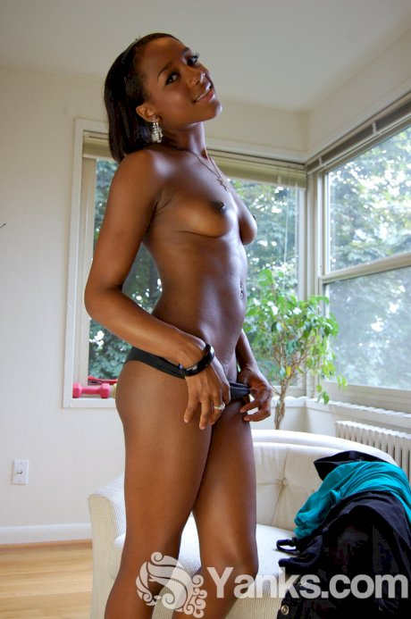 Ebony first timer Kiki B fingers her pussy after getting totally naked