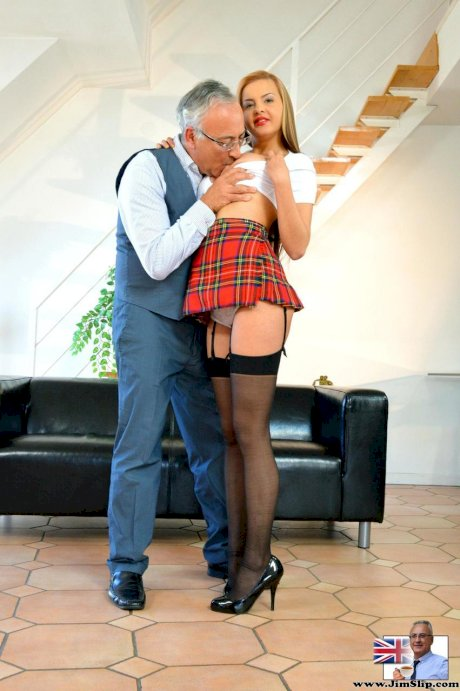 Slutty schoolgirl in stockings got penetrated by an old man Jim Slip