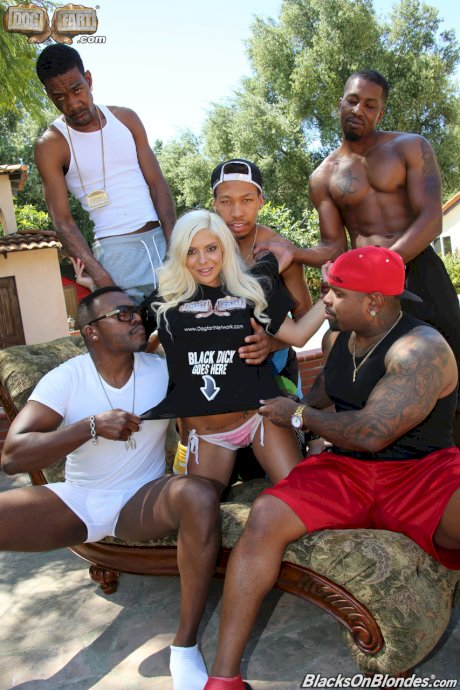 Busty blonde Sara St Clair gets gangbanged by a bunch of black dudes poolside