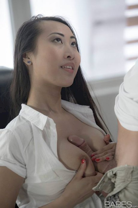 Sexy Asian office girl Sharon Lee gives tit job & fucks cowgirl in thong