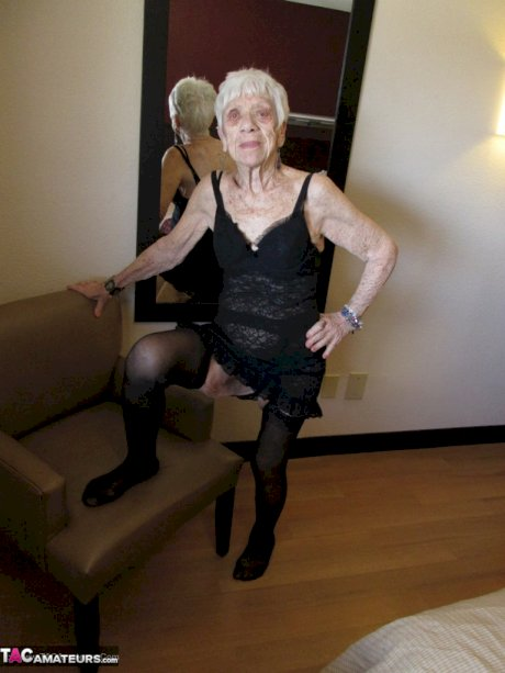 Ancient older woman in black lingerie gets her mature old granny pussy plowed