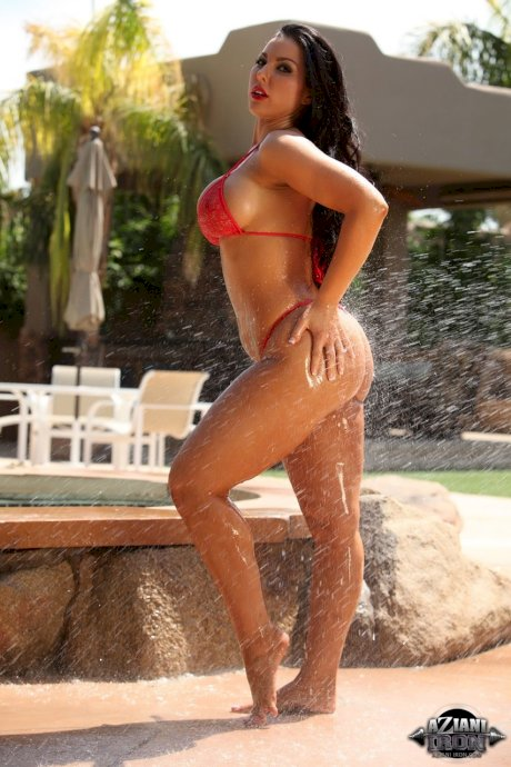 Hot brunette Brianna Jordan removes her bikini as she is sprayed with water