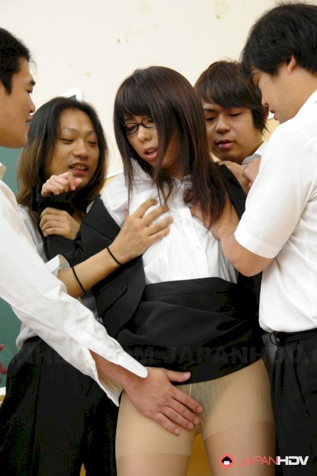 Japanese teacher Maho Sawai gets dominated and gangbanged by her students