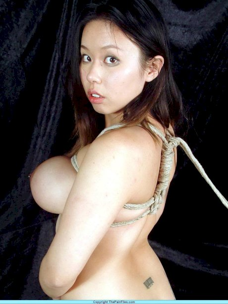 Chubby Asian girl with big boobs is tied up and suspended by rope in the nude