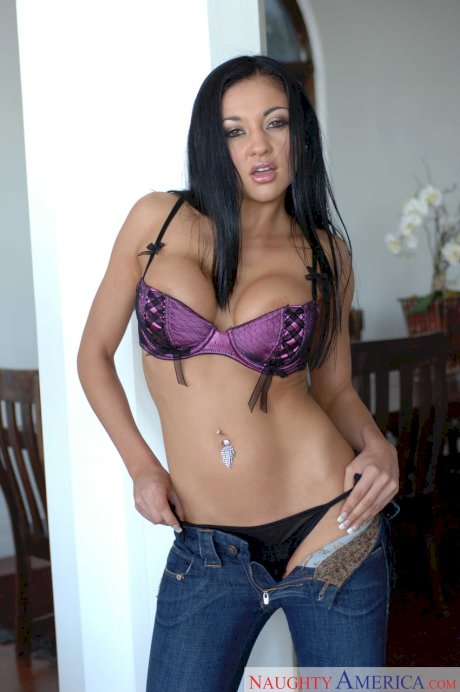 White chick with black hair doff her jeans and panties prior to fucking