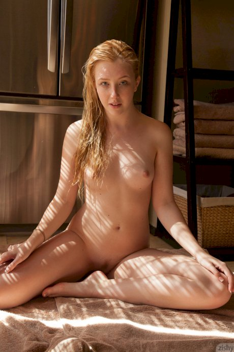 Wet girlfriend Samantha Rone dries her long blonde hair and poses nude