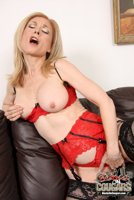 Super horny MILF in lingerie Nina Hartley got rammed by a black stud