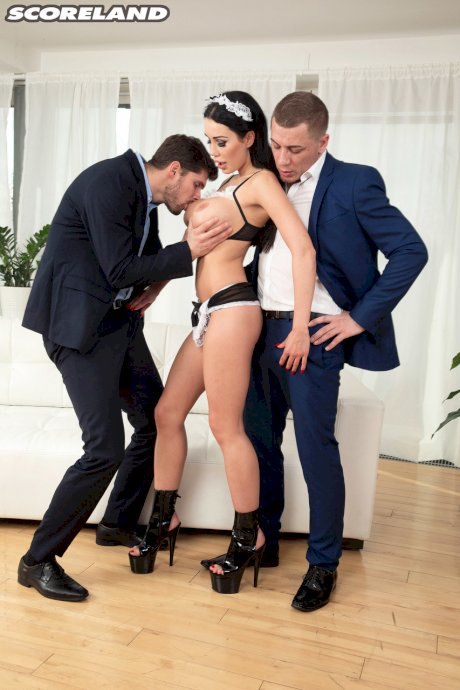 Busty Slovak maid Patty Michova gets ass fucked by two businessmen