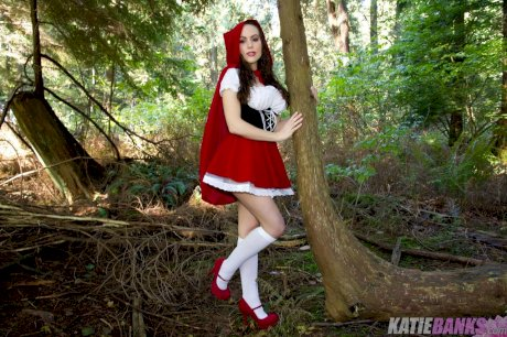 Amateur Katie Banks flashing tits and twat in woods dressed as Red Riding Hood