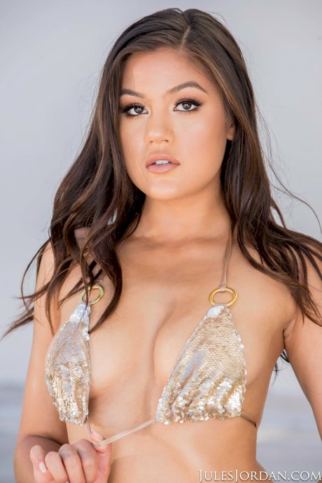 Asian spinner Kendra Spade works free of a bikini before getting on a BBC