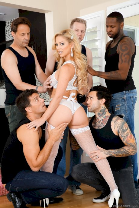 MILF slut Cherie DeVille in white stockings getting a DP in raunchy gangbang