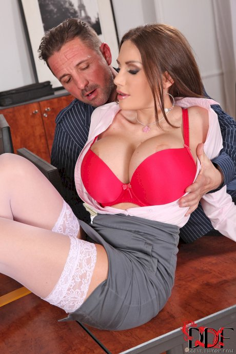 Filthy secretary Clanddi Jinkcego shows her giant tits & gets fucked at work