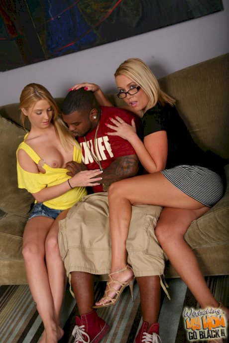 White girl Tara Sta takes a creampie from a black cock with help from her mom