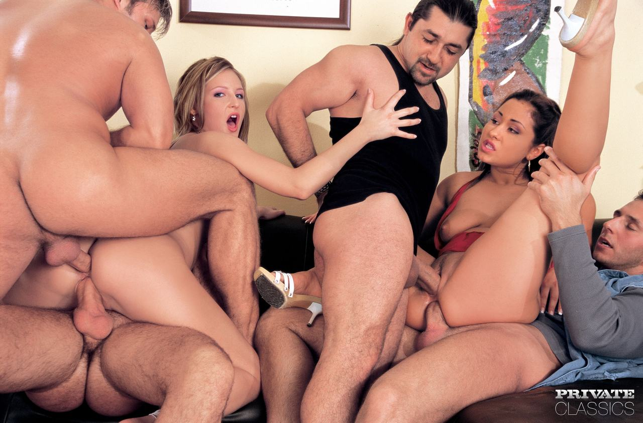 Orgy in a bar dp in the bathroom hot brunette fucked in the ass