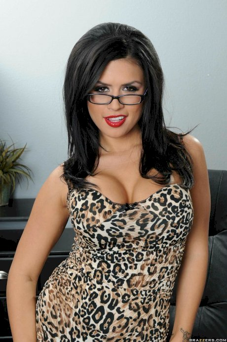 Latina vixen Eva Angelina losing her leopard dress & lingerie to touch herself