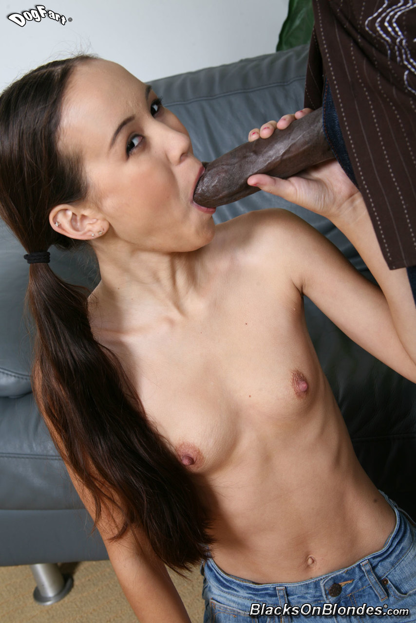 Tiny asian pussy plundered by massive black cock